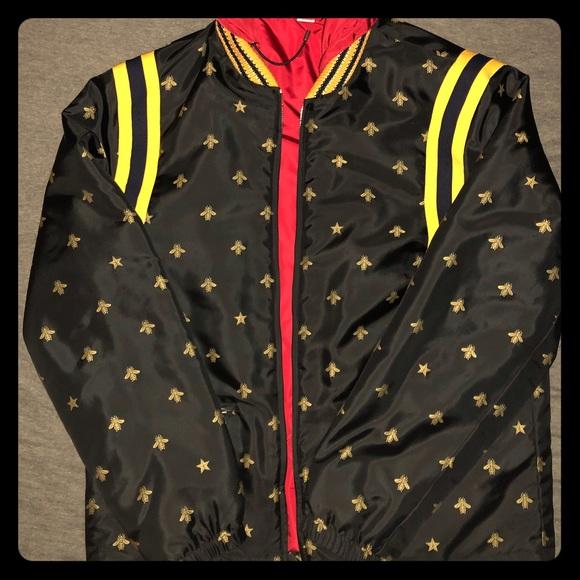 gucci jackets coats bee star jacquard nylon jacket poshmark